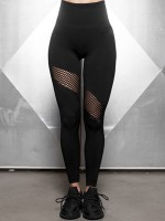 Vivid Black Sports Leggings Wide Waistband Seamless Stretchable