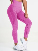 Trendy Rose Red High Waist Yoga Leggings Colorblock Sports