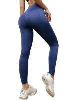 Modern Fit Blue Sports Leggings High Rise Ankle Length Leisure Fashion