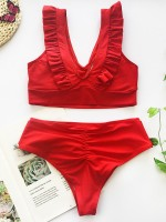 Awesome Red High Waist Bikini Ruffle Trim Bowknot For Street Snap