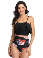 Classy Black Ruched Mom-Daughter Bikini Set Open Back Ladies