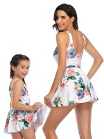 Plain White Mom Kid One-Piece Swimsuit Flower Print Feminine Elegance