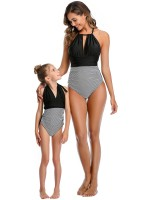 Beach Honeymoon Black Patchwork Mom Girl Swimwear Ruched Holiday