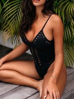 Beach Playing Time Black Zipper Monokini Hollow Out High Cut