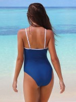 Spectacular Blue Padded Swimwear Patchwork High Leg Summer Vacation