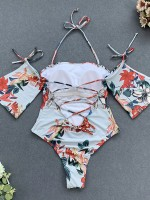 Summer Flower Print Halter Neck Beachwear Holiday