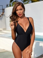 Appealing Black One Piece Swimwear V-Neck Ruched Fitness