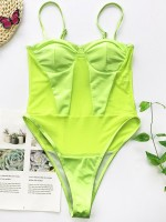 Bewitching Green Patchwork One Piece Swimsuit Adjustable Sling Natural Fit