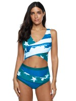 Popularity Blue Star Print 2 Pieces Swimsuit Big Size