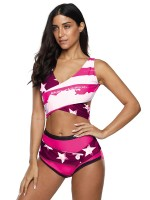 Appealing Pink Two Pieces Swimsuit Big Size Lace-Up Garment