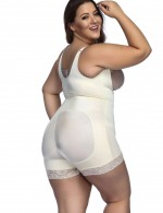 Durable Big Size Nude Zip Hooks Latex Open Crotch Body Shaper