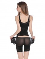 Traditional Black Body Shaper Adjustable Hooks Patchwork Slimming