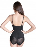 Defining Moment Black Lace Stitching Body Shaper Spaghetti Straps Extra Sexy