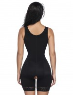 Black Hooks Eyes Body Shapewear Large Size Open Crotch Tummy Control