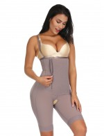 Ultra Hot Brown Plus Size Zipper Underbust Bodysuit Hooks Seamless