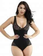 Tummy Control Black Elastic Lace Patchwork Bodysuit Big Size