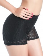 Flawlessly Black Mesh Padding Booty Enhancer Mid Waist Sleek Smoothers