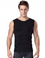 Slimming Black Mens Tank Shapewear High Elastic Good Elastic