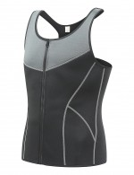 Elastic Grey Queen Size Mens Neoprene Shaper Vest Patchwork Fat Burning