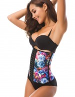 Flatten Tummy Big 9 Steel Boned Print Waist Slimmer Latex Fat Burner