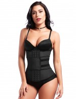 Extended Black Big Size Latex Waist Shaper 7 Steel Bones Tummy Slimmer