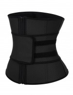 Black Queen Size Zip Latex Punching Waist Trainer 7 Steel Bones Ultra Light