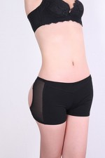 Tummy Trimmer Black Low Waist Open Bottom Butt Lift Panties