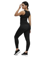 Black Neoprene Waist Trainer With Double Belt Abdominal Control