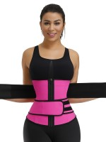 Slimming Rose Red Double Belts Waist Cincher Rubber Slimming Tummy