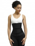 Shaping Black Plus Size Latex Waist Trainer 7 Steel Bones Tummy Slimmer