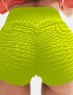 Yellow Sport Buttock Enhancing Workout Shorts With Drawstring