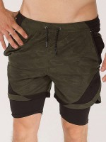 Endearing Army Green Double Layers Camouflage Sport Shorts Sensual Curves