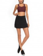 Comfy Black Slit Flare Hem Tennis Skirt High Rise High Elastic