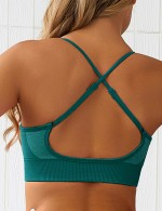 Shaping Green Crossover Back Seamless Colorblock Sports Bra High Quality