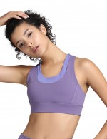 Close-Fitting Purple Push Up Scoop Neck I-Shaped Sports Bra