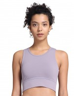 Light Purple Cut Out Round Neck Push Up Sports Bra For Running