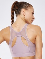 Brightly Light Purple Full Cup Mesh Patching Wireless Active Bra
