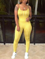 Casually Yellow Rompers Stripe Sleeveless Low Neck Ultra Hot
