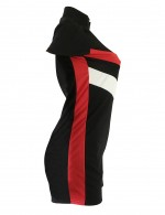 Alluring Black Jumpsuits Big Size Stitching Shorts Stripes High Elasticity