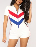 Liberty White Jumpsuits Front Zip Plus Short Sleeve Breathable