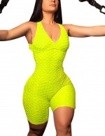 Distinctive Clasp Closure Yellow Fitness Jumpsuit V Neck