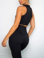 Supportive Black High Waisted Zipper Yoga Suit Wide Waistband Sports