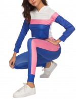 Unbelievable Blue Contrast Color Crop Top Sport Suit Sensual Silhouette
