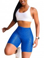 Dark Blue Jacquard High Waist Bike Gym Shorts Tight Weekend Time