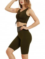 Body Sculpting Army Green Adjustable Tie V Collar Top Bike Shorts