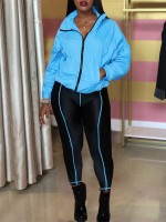 Super Sexy Blue Front Zipper Top And High Waist Pants Online