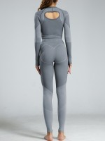 Ruching Gray Long Sleeves Sweat Suits High Waist For Training