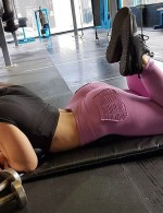 Cheeky Purple Wide Waistband Yoga Tights Sweat Absorption Female Grace