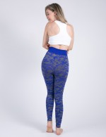 Sapphire Blue Stretchy Sports Tights Camouflage Print Soft