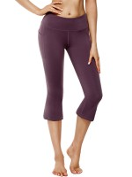 Sexy Ladies Purple Elastic Waist Keen-Length Yoga Pants Refined Outfit